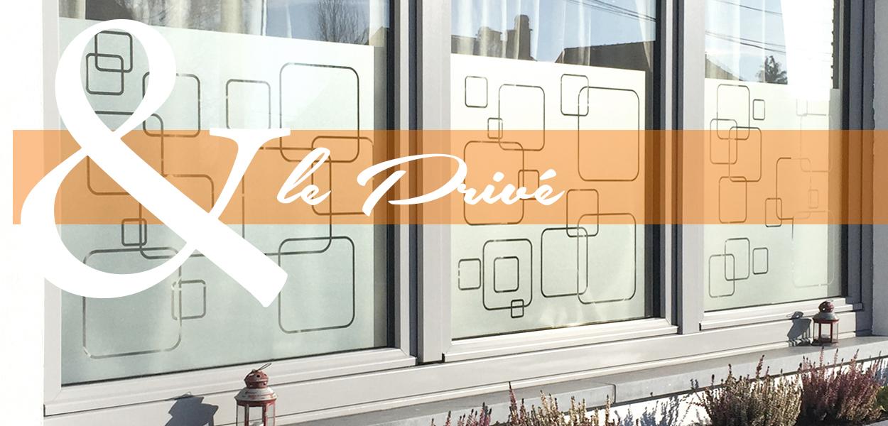 Sablage de vitres avec motifs géométriques
