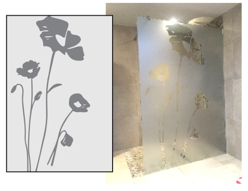 Film sablé cloisons vitrée de douche