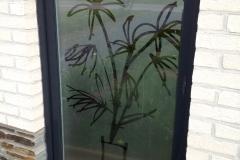 Film sablé avec découpe de motif bambous